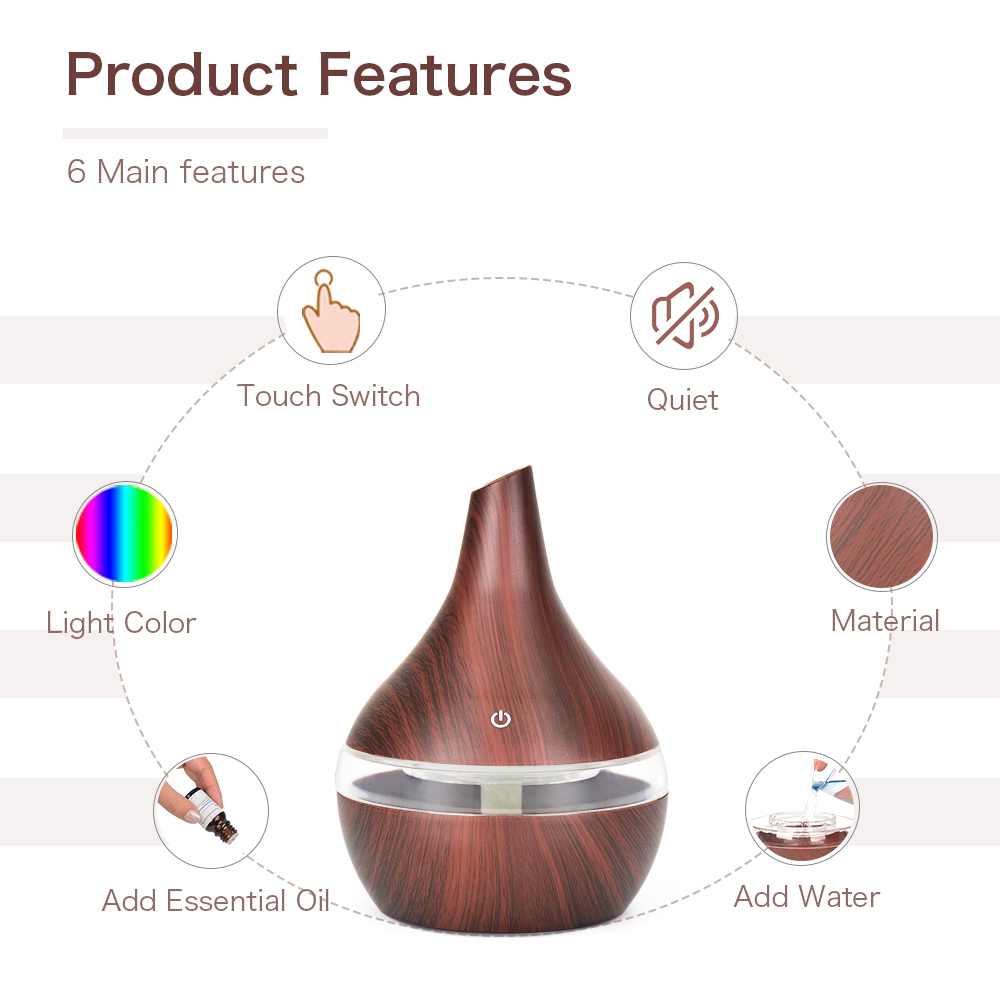 300ML humidifier Electric oil Aromatherapy wood grain Ultrasonic air diffuser with 7 colors lights  for home office Car 2