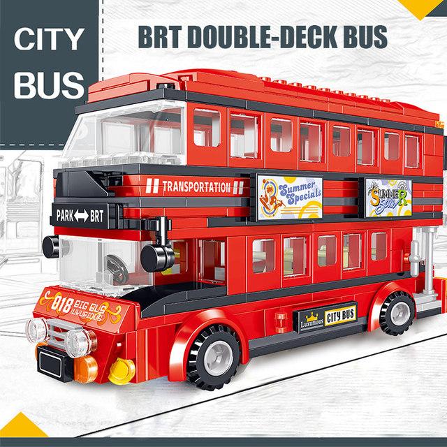 398PCS Creator Brt Double Deck Bus Building Blocks Technic Red Bus City School Car Bricks Enlightenment Toys for Kids
