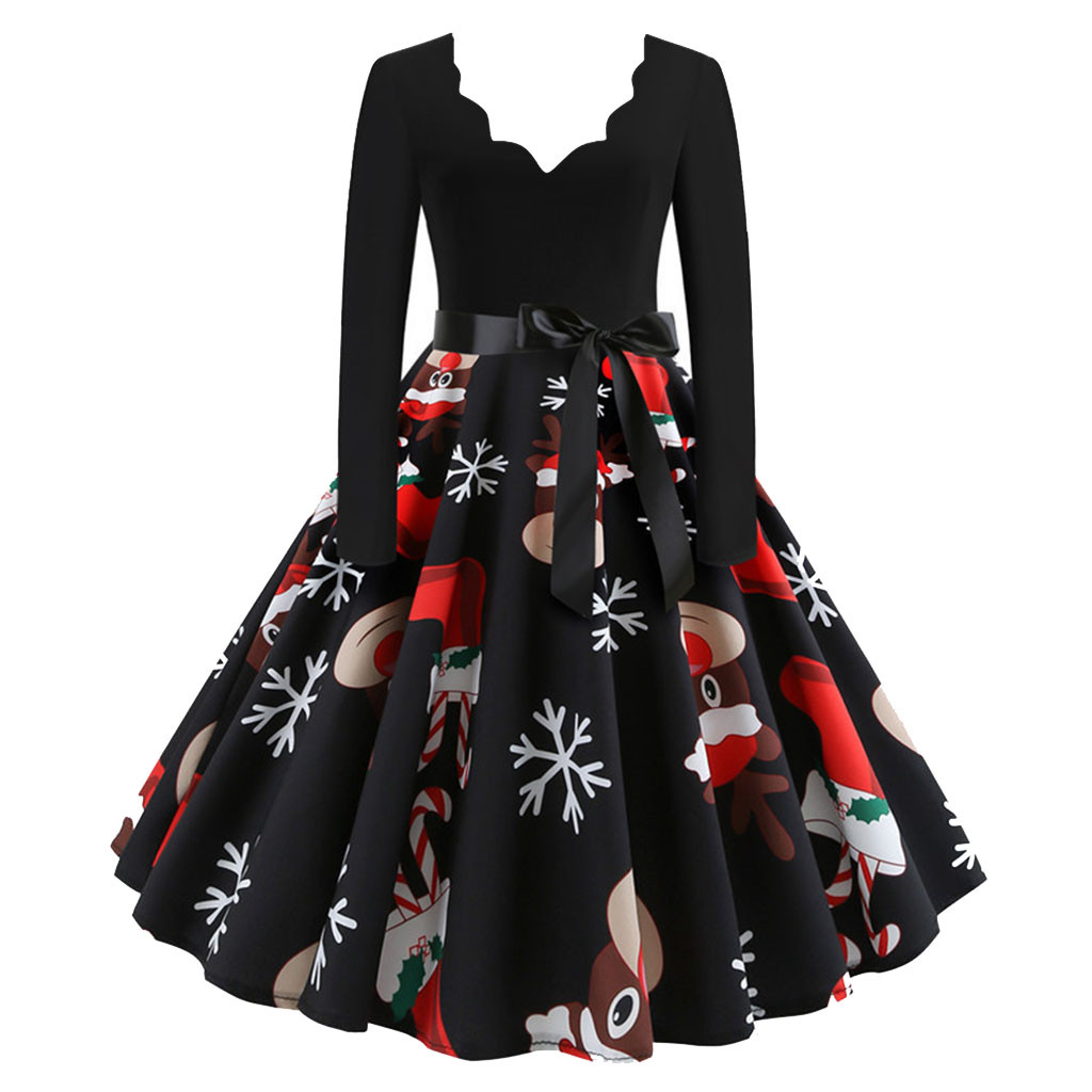 WOMAIL Women's Print Vintage Dress Christmas Musical Notes Swing Party Dress Casual Long Sleeve Pleated Party  Dresses
