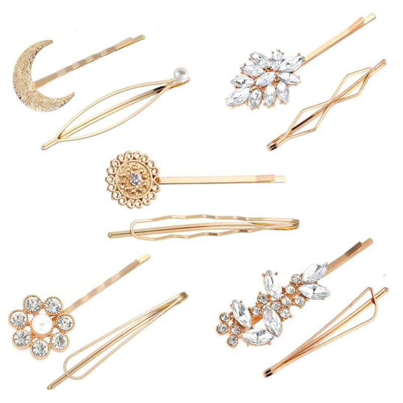 2pcs Simple Elegant Women Girls Hairpins Hair Clip Set Pearl Crystal Hair Accessories Headwear Geometric Moon Flower Barrettes