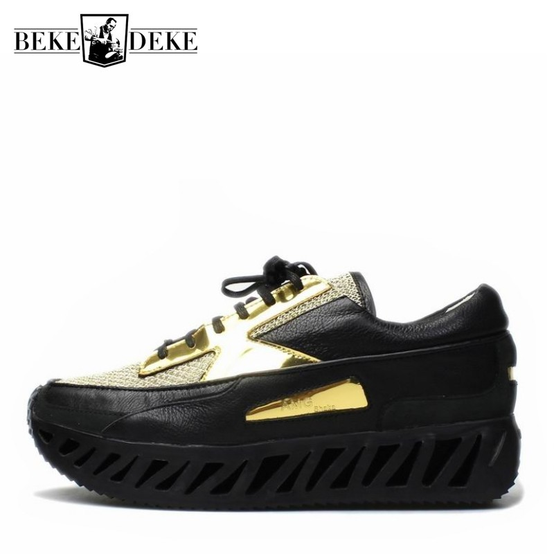 Summer Breathable Cowhide Mesh Sneakers Men Casual Platform Shoes 2020 New Designer Real Leather Chunky Sneakers Blade Zapatos