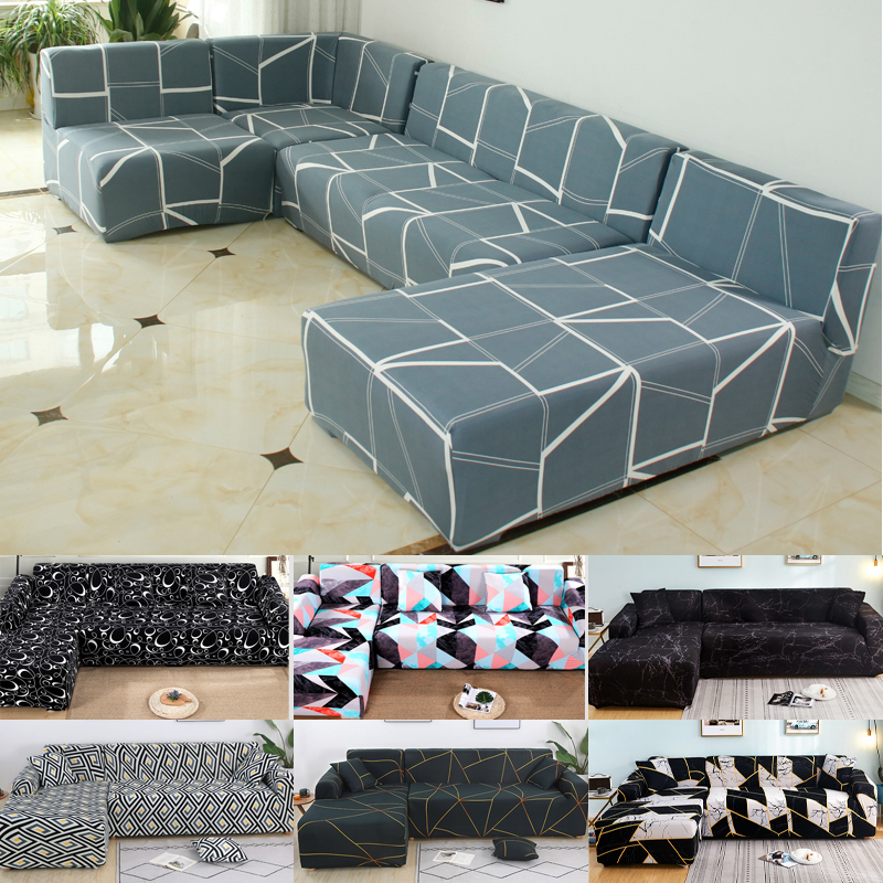 Couch Cover Spandex Sofa Cover For Living Room Section Sofa Slipcover Stretch L Shape Sofa Armchair Sofa Elastic Material