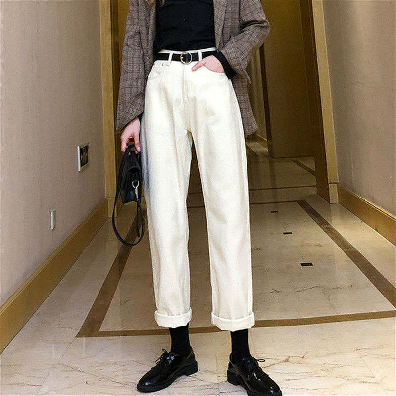 Jeans Women Solid Boyfriend Unisex All-match Straight Loose Simple Womens Trousers All-match Leisure Full Length Fashion Ulzzang