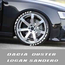 3D Gummi Reifen Brief Auto Aufkleber Für Dacia Duster 1,0 Ske Turbo GPL Logan 1,4 1,6 Mpi Dci Mcv Sandero r4 Xplore Auto Zubehör