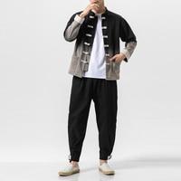 Male Gradient Color China Style Vintage Casual Streetwear Hiphop Cargo Jacket Coat Trousers Men 2 Piece Suits Sets (jacket+pant)