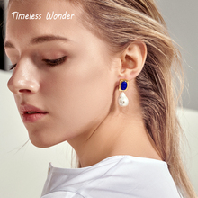Timeless Wonder Glam Stone Baroque Pearl Stud Statement Earrings Women Jewelry Gothic Boho Punk Runway Designer Ins 2323