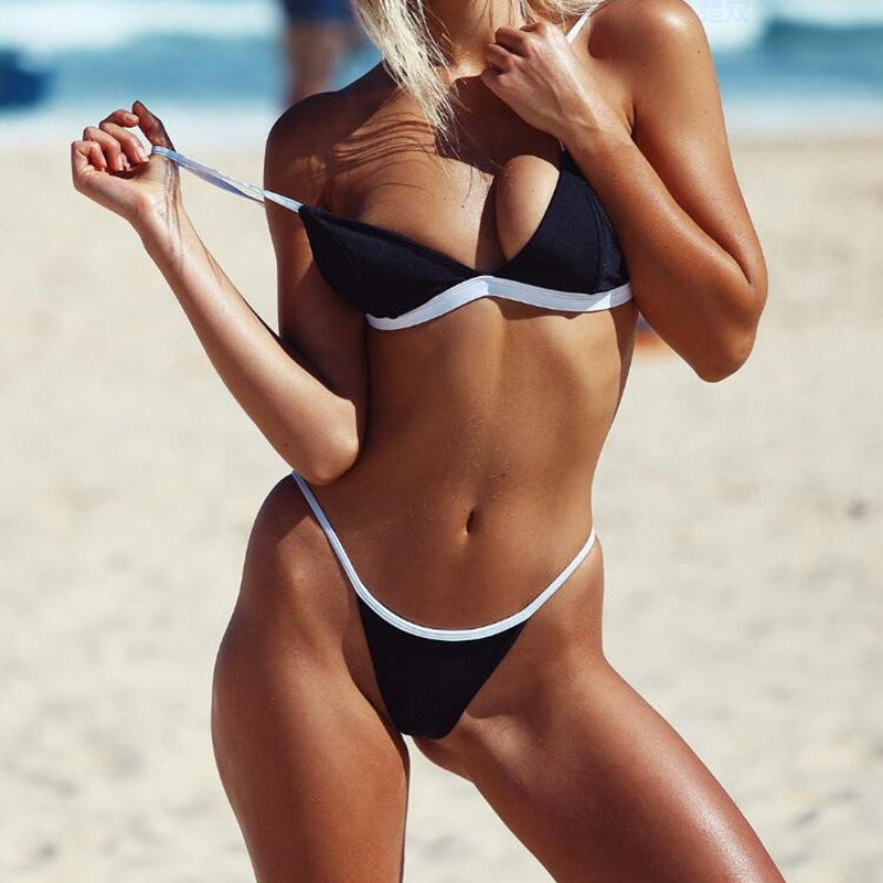 Bathing Suit Women Sexy Beach Solid Set Push Up Pleated Bikinis Women Swimming Suit Swimsuit Bikini Swimwear