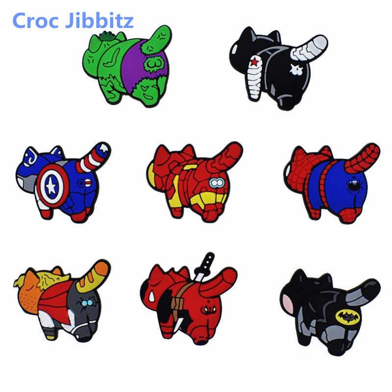 1 قطعة أعجوبة المنتقمون سوبر أبطال تأثيري باتمان الكرتون أنيمي الأحذية السحر صالح Croc Jibz الأحذية/سوار هدية الكريسماس