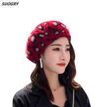 SUOGRY Berets High Quality Autumn Winter Hat Women Leopard Warm Mink Fur Beret Ladies Vintage Artist Painter