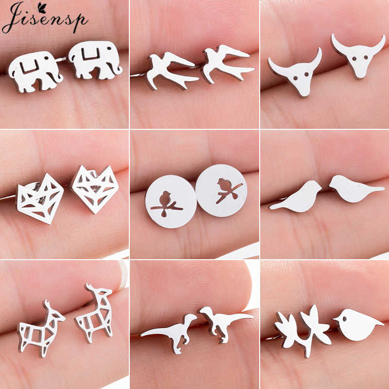 Jisensp Stainless Steel Mickey Stud Earrings for Women Girls Minimalist Mouse Birds Fox Earings Jewelry Animal Accessories Gifts