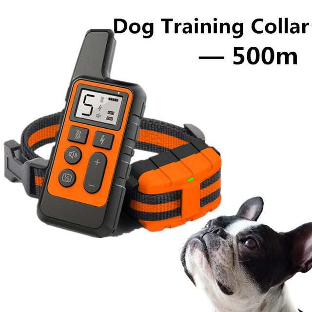 500m כלב אימון צווארון עמיד למים נטענת שלט רחוק לחיות מחמד להפסיק לנבוח עם LCD תצוגה עבור כל גודל 40% הנחה