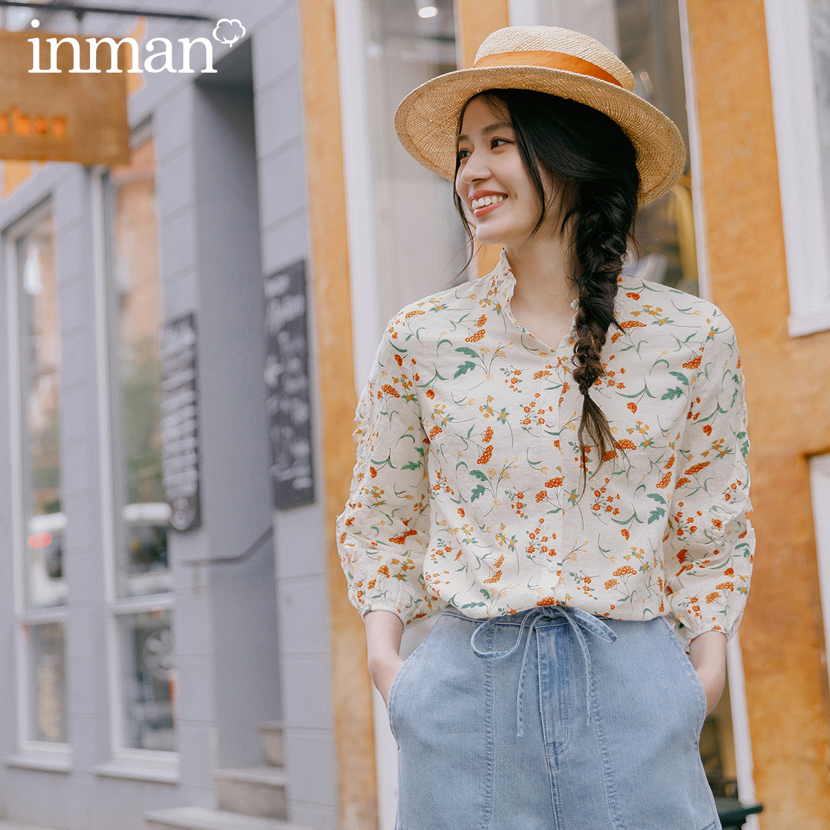 INMAN 2020 Spring New Arrival Literary Stringy Selvedge Stand Collar Retro Floral Falbala Three Quarter Sleeve Blouse