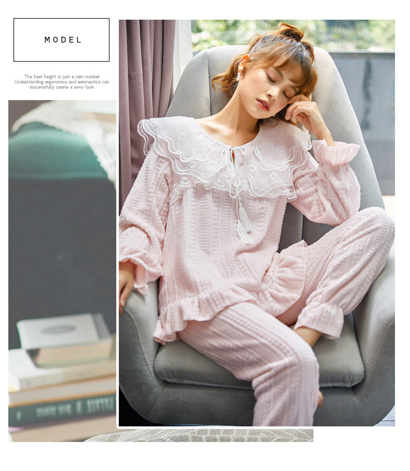 JULY'S SONG Flannel Women Pajama Sets Sleepwear Air Cotton Winter Pajamas Thick Warm Lace Long Sleeves Full Trousers Homewear 43