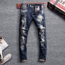 Fashion Streetwear Men Jeans Retro Blue Vintage Ripped Slim Fit Destroyed Baggy Pants Designer Hip Hop Homme