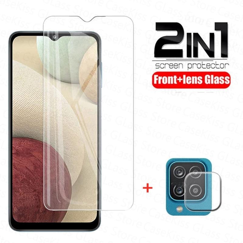 2in1 vidro temperado para samsung galaxy a12 a42 5g protetor de tela lente filme para samsung a 12 6.5 clear clear limpar vidro protetor
