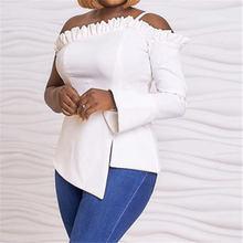 Сексуальная белая блузка с открытыми плечами оборки вырез лодочкой