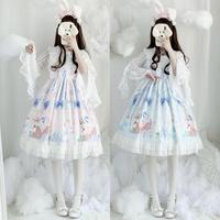Afternoon Time Sweet Retro Doll Collar Lace Trim Slip Dress Japanese Kawaii Lolita Summer falbala JSK Sleeveless Dress Blue Pink