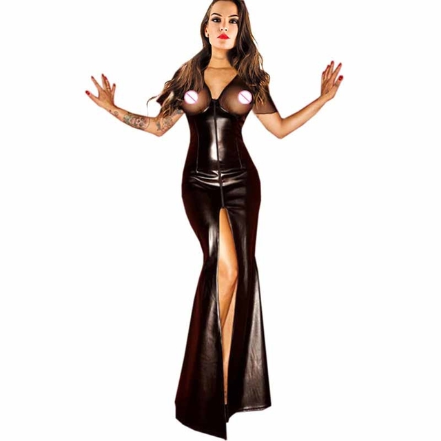 Women Clubwear Party Dress Ladies Wet Look Exotic Vinyl Leather Waist Long Dress V-Neck Long Sleeve Floor Length Maxi Dresses 3