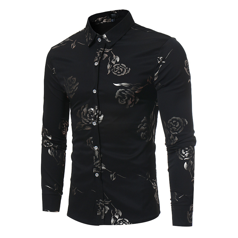 Black Rose Floral Print Shirt Men Camisas Hombre 2019 Autumn New Slim Fit Long Sleeve Mens Dress Shirts Business Casual Shirt