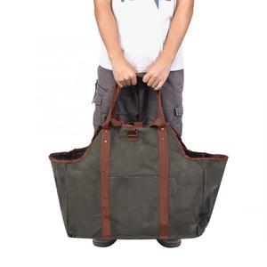 Image 1 - ביתי עמיד אחסון תיק שעווה עץ תיק נסיעות נייד גדול לעבות עצי הסקה יומן Carrier Tote תיק ארגונית