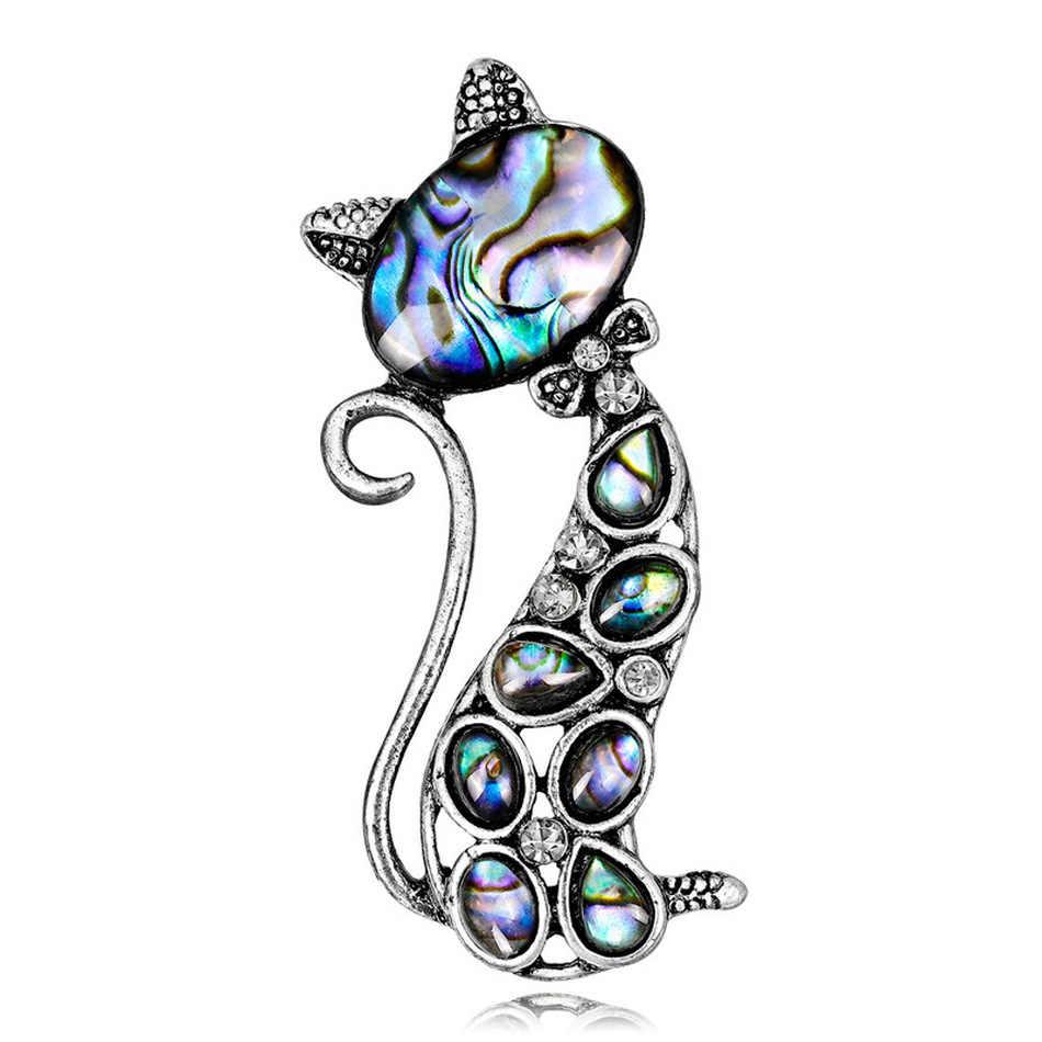 Vintage Alami Abalone Shell Kucing Lucu Hewan Bros Pin untuk Gir Fashion Wanita Korsase Sutra Syal Perhiasan Grosir Aksesoris