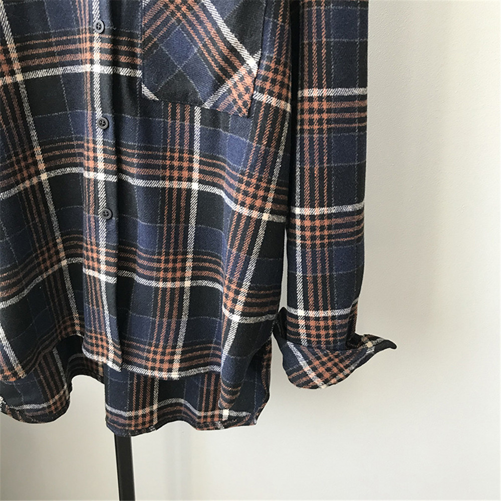 Spring Thick Loose cotton plaid Women blouses shirt 2020 female long sleeve Casual Warm women Blouse shirt office lady top Y0675 (22)