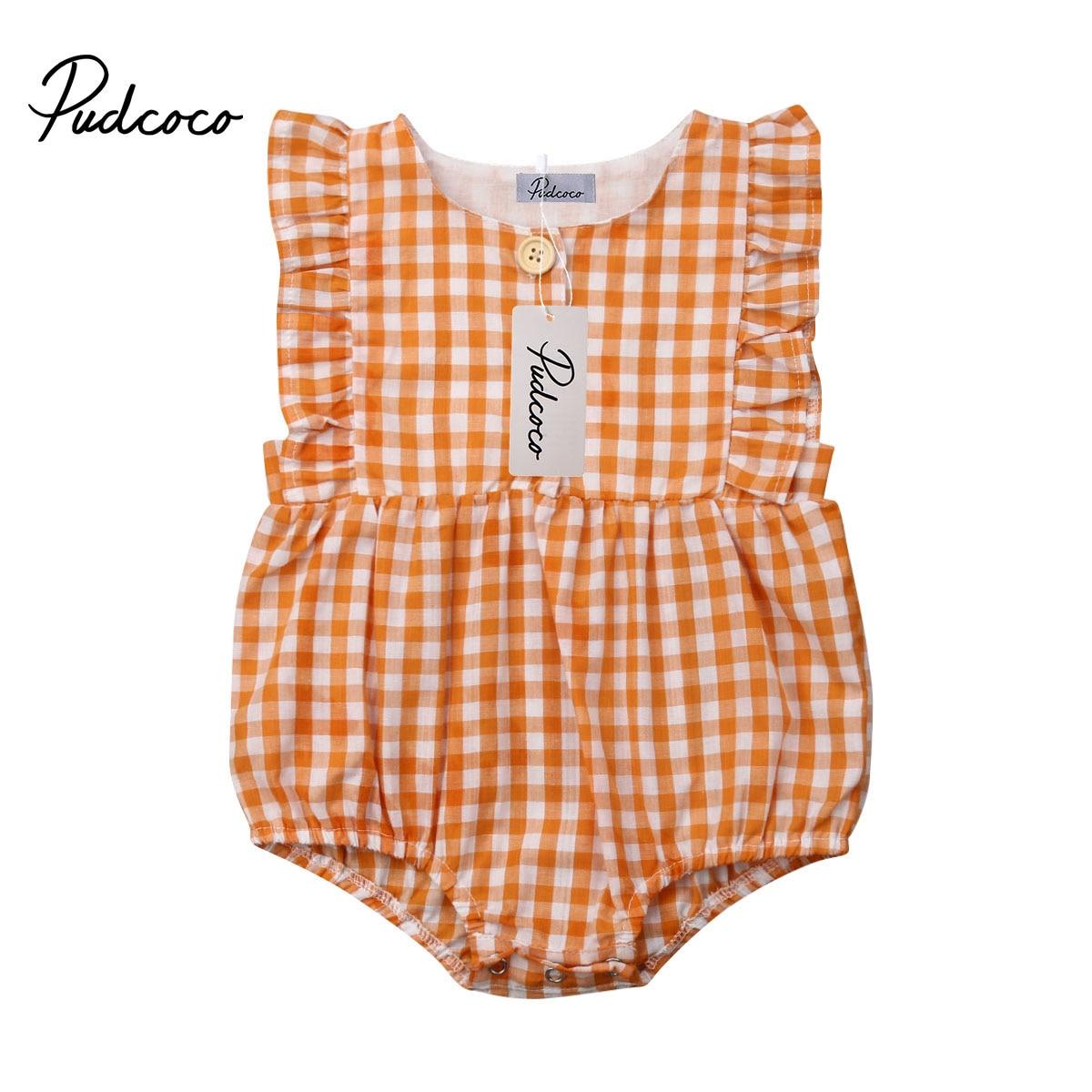 Pudcoco bebê recém-nascido da menina plissado xadrez macacão sem mangas macacão uma peça outfits sunsuit da criança menina verão roupas