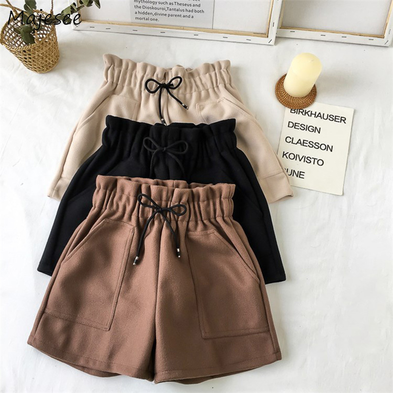 Shorts Women Winter Woolen Blends High Waist Drawstring Pockets Womens Loose 2XL Student Simple Korean Style All-match Harajuku