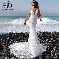 luxury Romantic Lace Spaghetti Straps Neckline Backless Mermaid Wedding Dress With Beaded Sexy Open Back Bride Wedding Dress