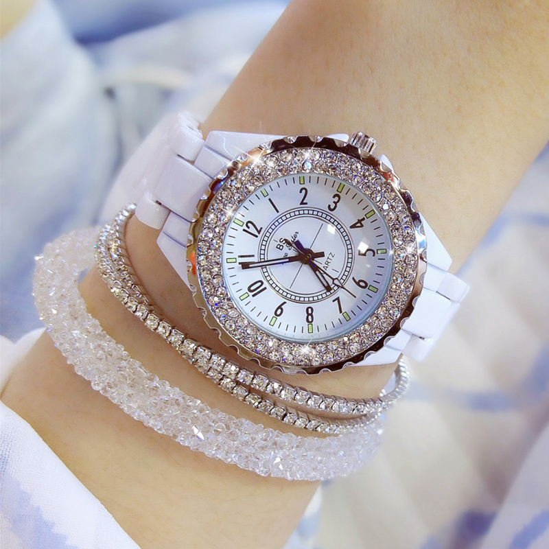 2019 Luxury Crystal Wristwatches Women White Ceramic Ladies Watch Quartz Fashion Women Watches Ladies Wrist watches for Female 1