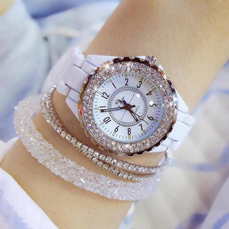 2019 Luxury Crystal Wristwatches Women White Ceramic Ladies Watch Quartz Fashion Women Watches Ladies Wrist Watches For Female