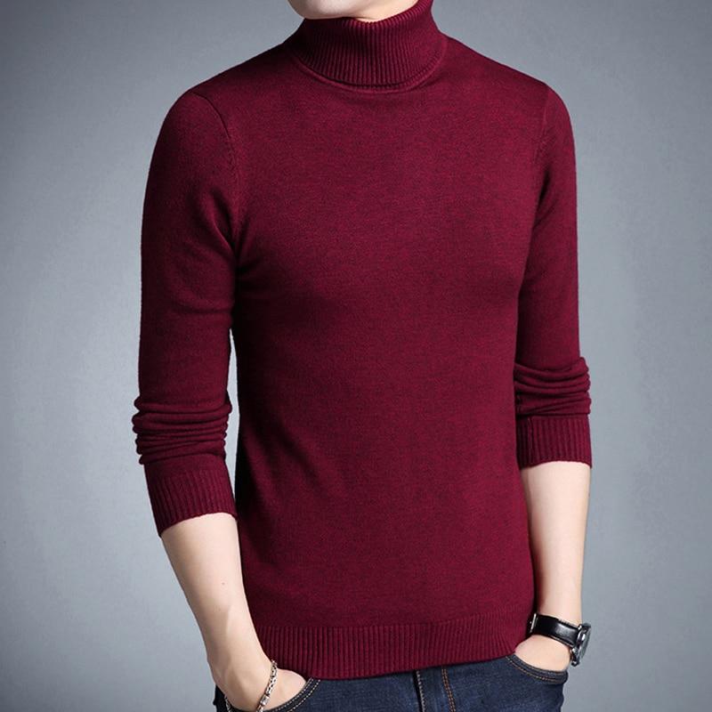 Liseaven Winter Warm Sweater Men Turtleneck Brand Mens Sweaters Slim Fit Pullover Men Knitwear Double Collar Pullovers