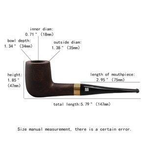 "Image 5 - RU חדש בעבודת יד הובנה עץ שחור עישון צינורות טבק צינור 9 מ""מ מסנן עץ צינור מתנה עבור סבא אב ac0015"