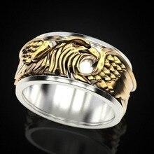 Винтажный 925 Серебряный два тон кольцо властная Орел мужская группа ювелирных изделий подарка партии