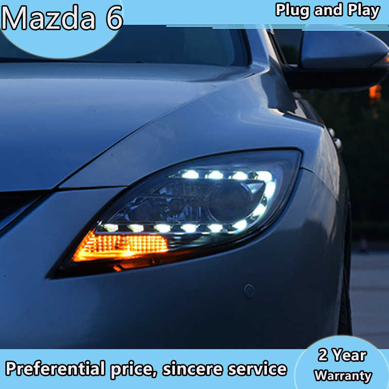 Auto Styling Voor Mazda 6 Koplampen 2004-2013 Mazda6 Led Koplamp Angel Eye Drl Bi Xenon Lens Hoge Lage beam Parking