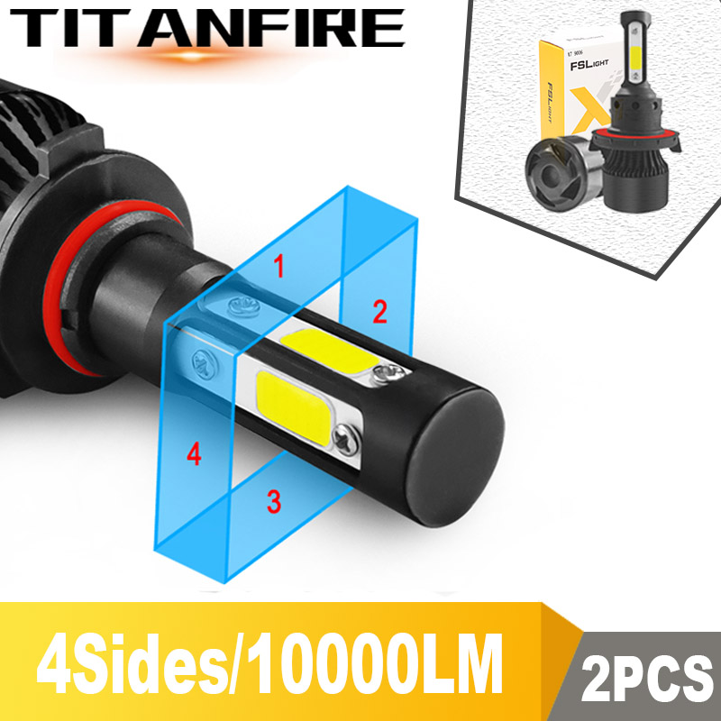 TF30 New 4 Side Lumens COB 100W <font><b>10000lm</b></font> H4 Hi lo H7 H11 9005 9006 Car LED Headlight Bulbs Auto Led Headlamp LED C6 Light 12v 24v image