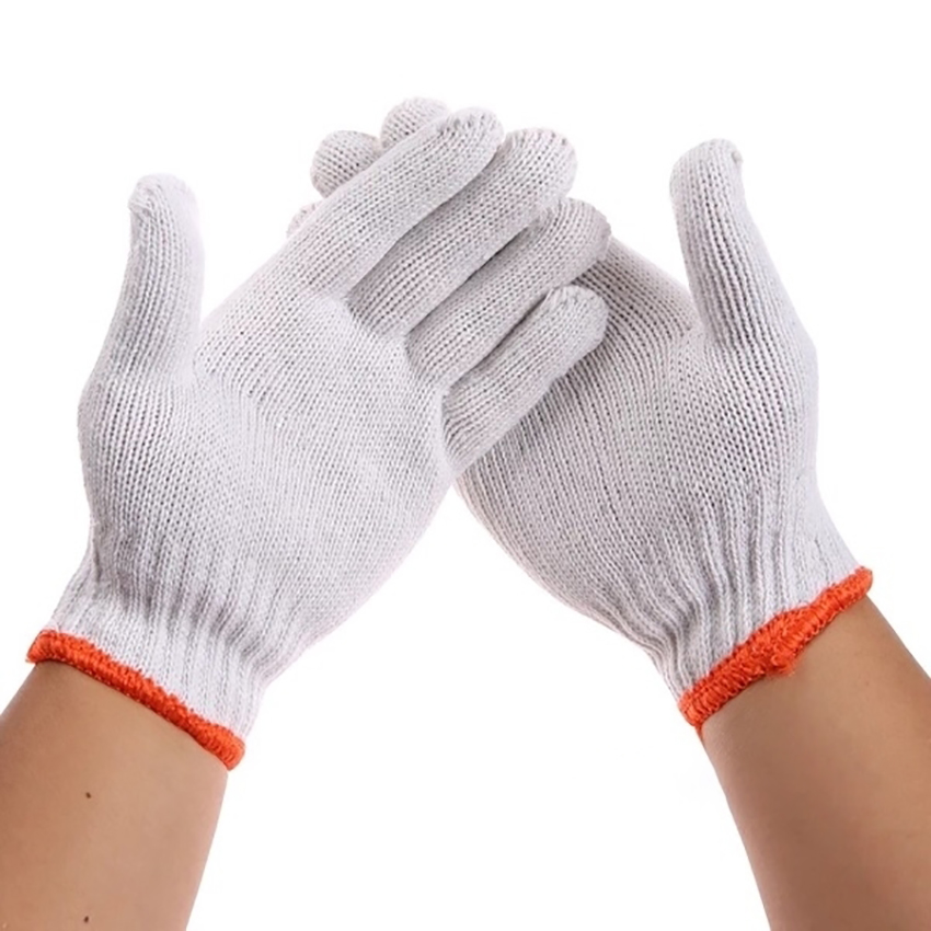 12 Pairs /Lot Work Gloves Thick Nylon Cotton Washable Gloves With Elastic Knit Wrist Industry Protective Safety Gloves, L Size