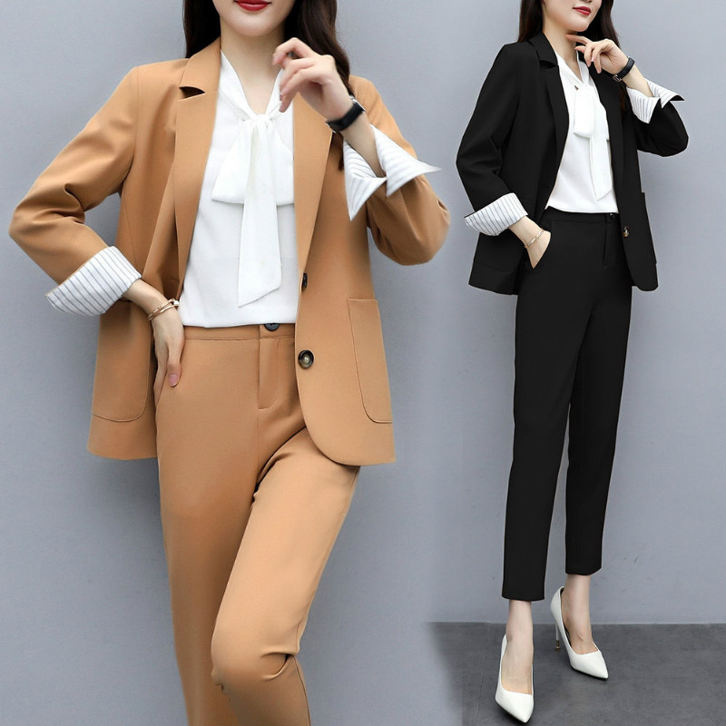 High Quality Ladies Professional Pants Suit Large Size M-5XL 2019 Autumn Slim Women's Jacket Blazer Office Suit Pants Two-piece