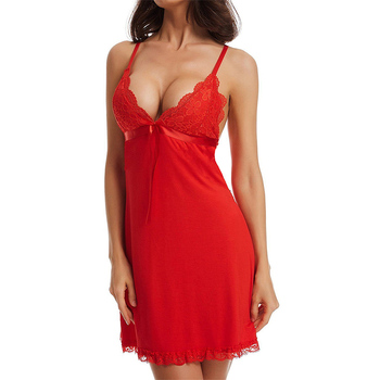 Large Size Women Sexy Fashion Nightgown Sleepwear Sleep Dress V Neck Solid Color Sleeveless Backless Nightwear Female Clothes 4