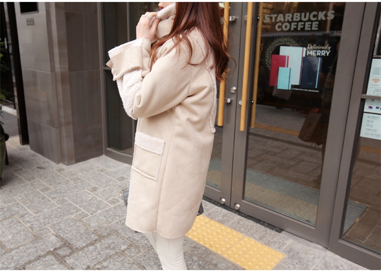 Зимняя длинная замшевая куртка из искусственной кожи для женщин