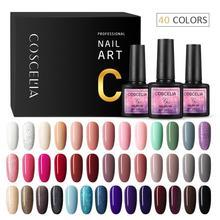 COSCELIA Juego de uñas para manicura, 40 esmaltes de uñas de Gel de colores, para manicura semipermanente