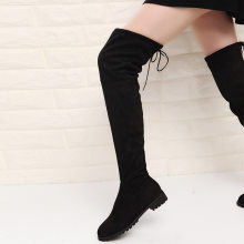 Female Knee High Boots Women Flock Leather Winter Boots Women Long Boots Black Gray Knee Boots 2019 Shoes(China)