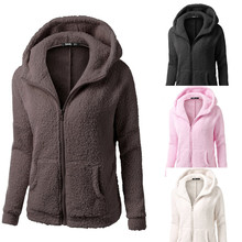 Women Hooded Sweater Coat Winter Warm Wool Zipper Cotton Outwear Fashion Female Overcoat c819