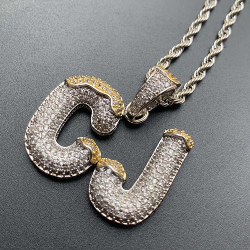 Nama Kustom Gelembung Huruf Liontin Kalung Double Warna dengan 4 Mm Tenis Rantai untuk Pria Wanita Kubik Zircon Hip Hop perhiasan Hadiah