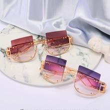 2020 içi boş Lens büyük boy kadınlar güneş gözlüğü kare marka tasarımcısı erkekler güneş gözlüğü degrade büyük çerçeve güneş gözlüğü kadın UV400