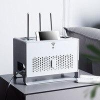 Caja de almacenamiento para enrutador Wifi de escritorio, organizador de cables, decodificador, tira de alimentación, caja de acabado oculta