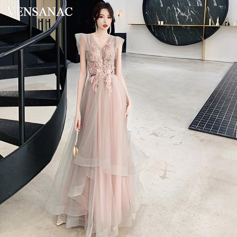 VENSANAC Illusion V Neck Lace Appliques A Line Long Evening Dresses Party Short Sleeve Backless Prom Gowns