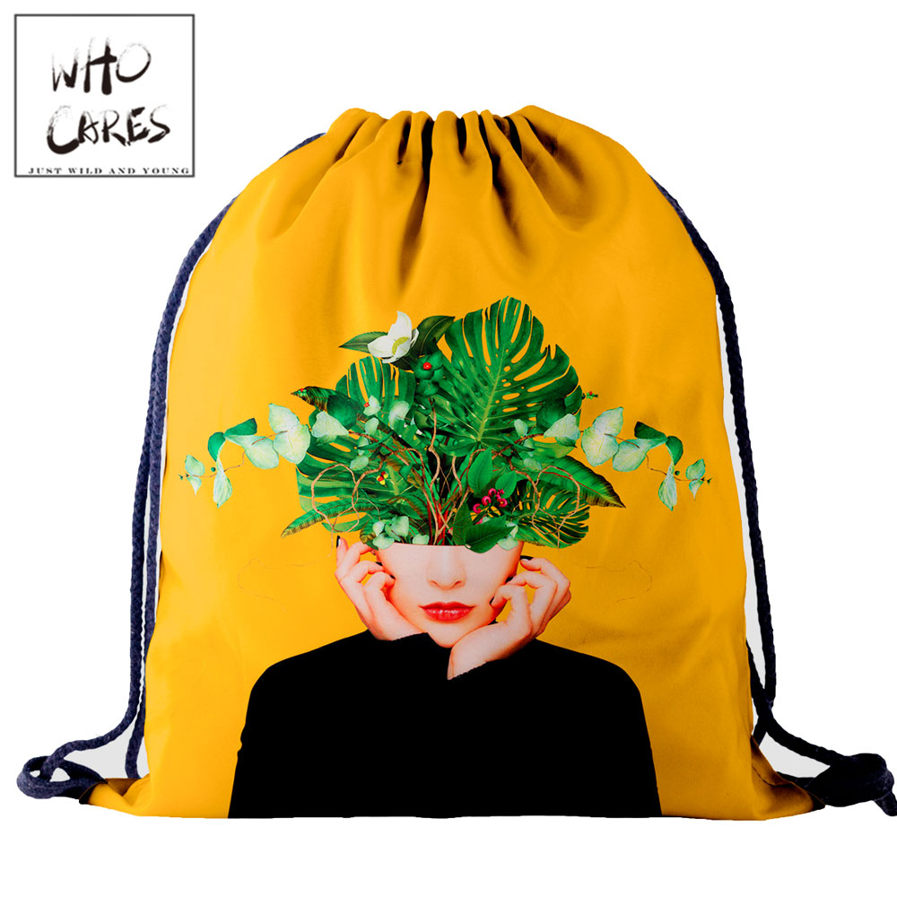 Who Cares Fashion Drawstring Bag Art Flower 3D Printing Pouch Bag Gym Backpack Women Outdoor Travel Portable School Shoe Bag