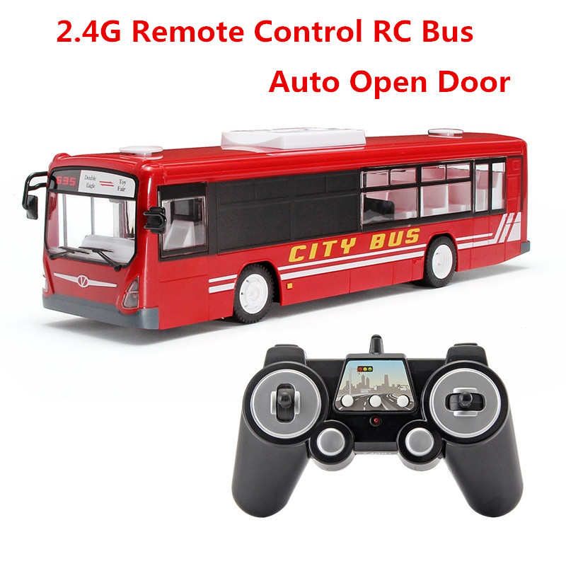 RC Car Simulation Bus Realistic Sound and Light One-button Remote Control Open Door Close Door City Bus Remote Control Car Toys