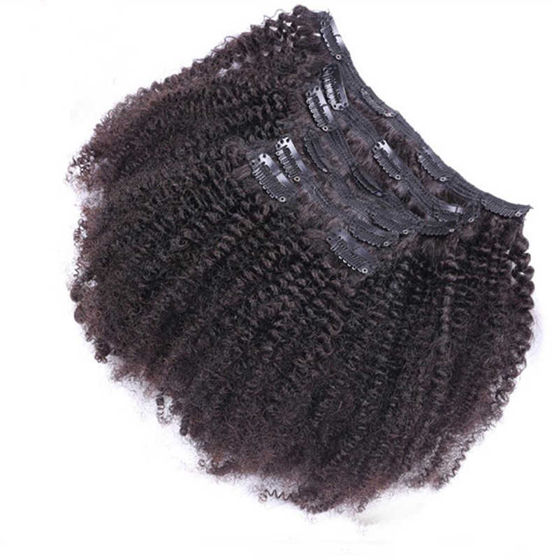 Afro Krullend Clip In Human Hair Extensions 8 stks/set Braziliaanse Afro-amerikaanse Clip In Human Hair Extensions Clip Ins Krul coily